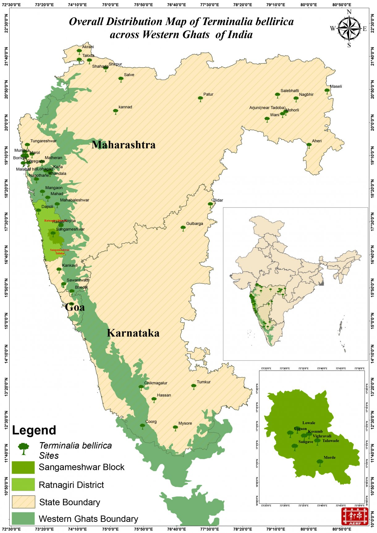 Overall Distribution Map of Terminalia bellirica across Western Ghats of India - AERF